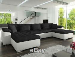 Corner Sofa Bed WICENZA with Sleep Function Faux Leather Fabirc New