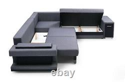 Corner Sofa Bed Wave Spring Pull Out Seater Minibar Storages Couch Modern NEW