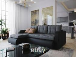 Corner Sofa Bed With Storage Linen Fabric and Faux Leather Sofa Bed Large
