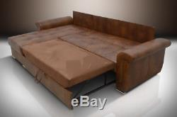 Corner Sofa Bed''agnes'' 100% Top Grain Leather, XL Bed, All Colours Available