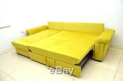 Corner Sofa Bed''agnes'' XL Bed, Stain Resistant Velvet, Super Comfy, Yellow