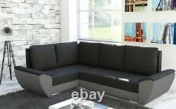 Corner Sofa Bed black / grey Living Room Storage Sleeping Option Left Right