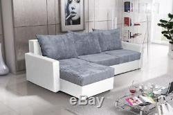 Corner Sofa Bed-white/grey-giant Cord Fabric And Faux Leather Storage