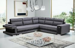 Corner Sofa Bed with Storage Bar Sprung Seat Sleep Function in Grey Black Fabric