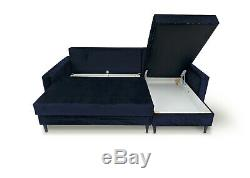 Corner Sofa Bed with Storage Blue Velvet Fabric Modern Style Black Wooden Legs