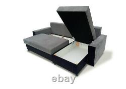 Corner Sofa Bed with Storage Bonell Sprung Seat L Shape L-Shaped Multicoloured