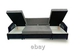 Corner Sofa Bed with Storage Compartment Bonell Sprung Seat U Shape Curvy Arm