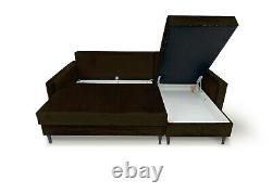 Corner Sofa Bed with Storage Modern Style Black Wooden Legs Velvet Fabric