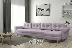 Corner Sofa Bed with Storage Pink Velvet Scandinavian Style Choice FREE Assembly