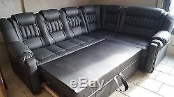 Corner Sofa Bed with Storage, Real Italian Leather, Modern, Various Colours