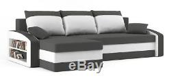 Corner Sofa Bed with Storage Shelves Pouffes in Grey White Fabric FREE Assembly