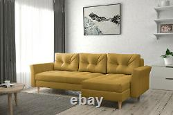 Corner Sofa Bed with Storage Sprung Seat Scandinavian Many Colours FREE Assembly