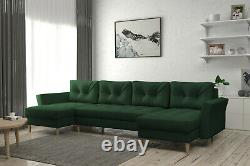 Corner Sofa Bed with Storage U-shaped Scandinavian Style Colours FREE Assembly