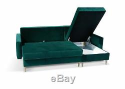 Corner Sofa Bed with Storage Velvet Fabric Blue Green Living Room Office Study