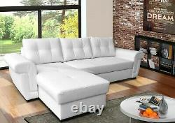 Corner Sofa Bed with Storage, White PU Leather. Universal Corner