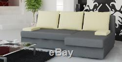 Corner Sofa Bed with Storage in Black Brown Grey Many Colours PROMOTION