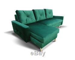 Corner Sofa Bed with Storage in Green Velvet Fabric with Wooden Legs PROMOTION