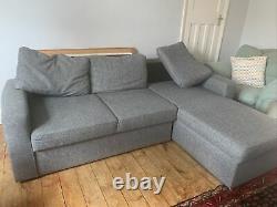 Corner Sofa Bed with Underneath Storage in Grey