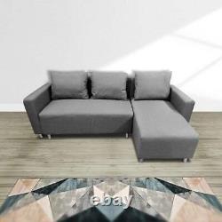 Corner Sofa Bed with Underneath Storage in Grey, Brown, Black, Brown Colour