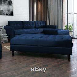 Corner Sofa COPENHAGEN Settee Fire Retardant Reversible Sofa Bed with Pouf