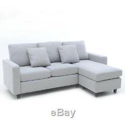 Corner Sofa Grey L-shaped Sofa Bed 3 Seater Sofa, Fabric 3 KIND OF COMBINATION