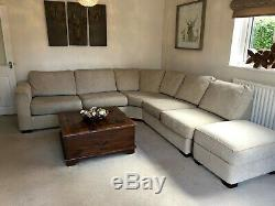 Corner Sofa, Oat Meal Colour, Fabric, Built in pull out double bed & footstool