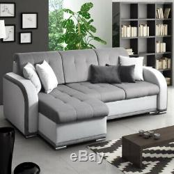 Corner Sofa TRINITY L-shaped Lounge Reversible Sofa Bed Grey Fabric