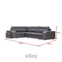 Corner Sofa UMILL Comfortable L-Shaped Sofa Bed with Pouf and Cabinet Grey