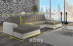 Corner Sofa Wohnlandschaft Couch U Shape Bed Function Fabric Grey Immediate