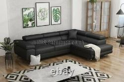 Corner sofa bed TONY BLACK Faux Leather Fast Delivery Delivery to Scotland