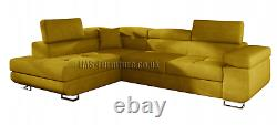 Corner sofa bed TONY HR foam -YELLOW FAST DELIVERY Delivery to Scotland