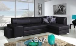 Corner sofa bed black leather storage left right NEW