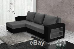 Corner sofa bed grey fabric black faux leather left right shelves, new design