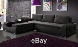 Corner sofa bed grey fabric black leather storage left right NEW