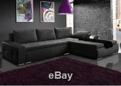 Corner sofa bed grey fabric black leather storage left right NEW
