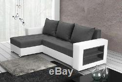 Corner sofa bed grey fabric white faux leather left right shelves, new design