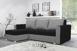 Corner sofa bed living room brand new storage left right black grey fabrics