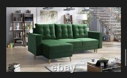 Corner sofa bed living room left right GREEN FABRIC VELVET