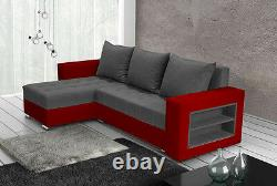 Corner sofa bed living room left right grey fabric red faux leather shelves