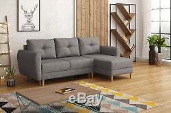 Corner sofa bed storage grey fabric left right, new design