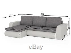 Corner sofa bed storage left right grey fabric white faux leather spring