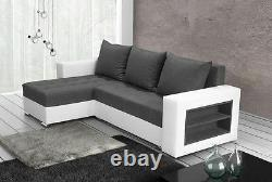Corner sofa bed storage shelves left right grey fabric white faux leather