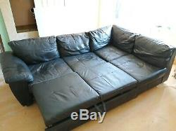 Corner sofa bed with storage Black leather