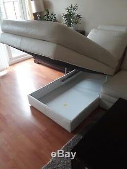 Corner sofa bed with storage- cream leather