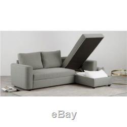 Corner storage sofa bed, silver grey