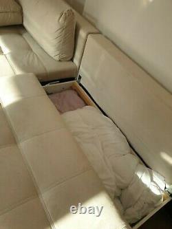 Cream Velvet Corner Sofa Bed (hardly used)