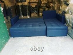 DARK BLUE L-Shaped Universal Corner Sofa Bed TWO Storage boxes