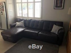 DFS Leather corner sofa with storage and fold out double bed