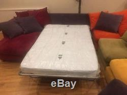 DFS Multi Coloured 5 Piece Modular Corner Sofa With Bed and Pouffe