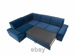Darby 5 Seater Left Corner Sofa Bed With Storage, Springs, Easy Clean Fabric